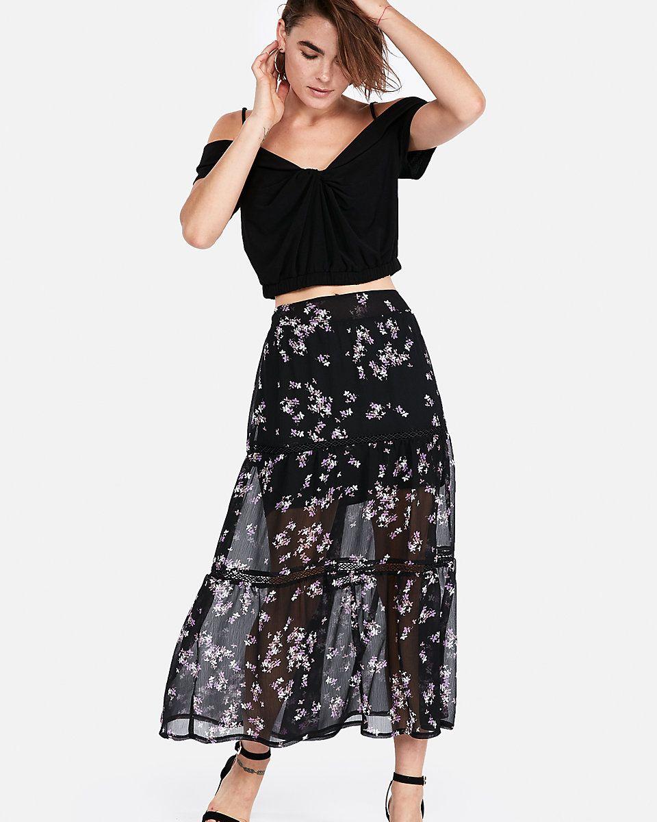 8c3daa7954 Floral Print Tiered Maxi Skirt