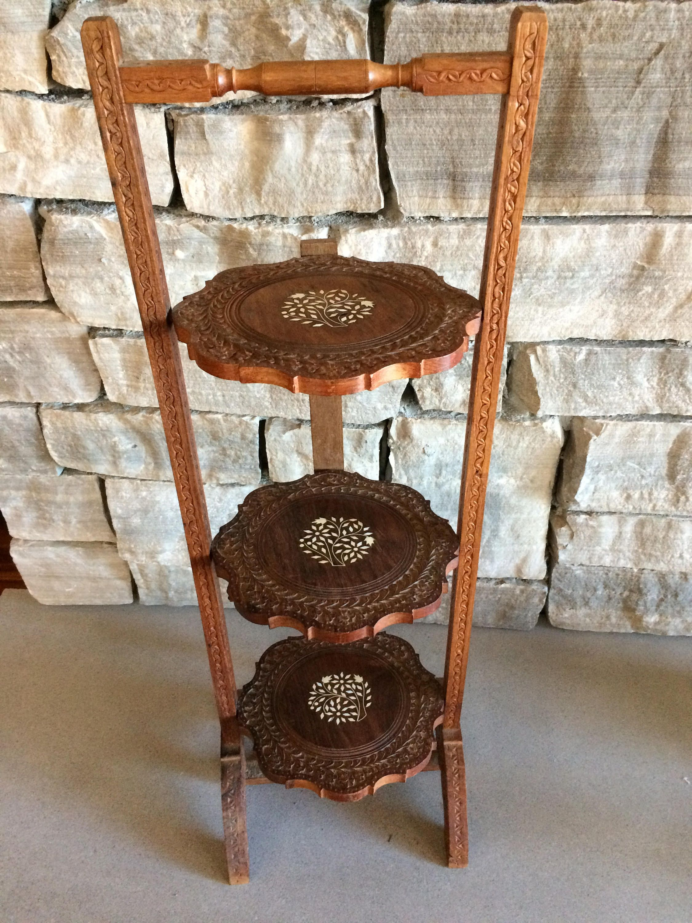 Vintage Carved Wood Folding 3 Tier Pie Stand Wood Plant