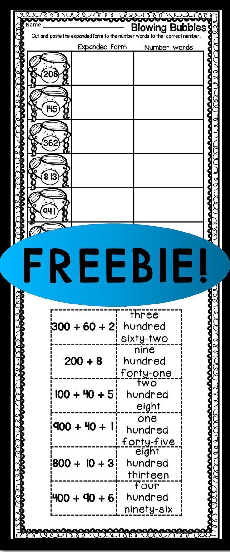 FREEBIE! EXPANDED FORM CUT AND PASTE | 2nd Grade Teacher Clubhouse ...