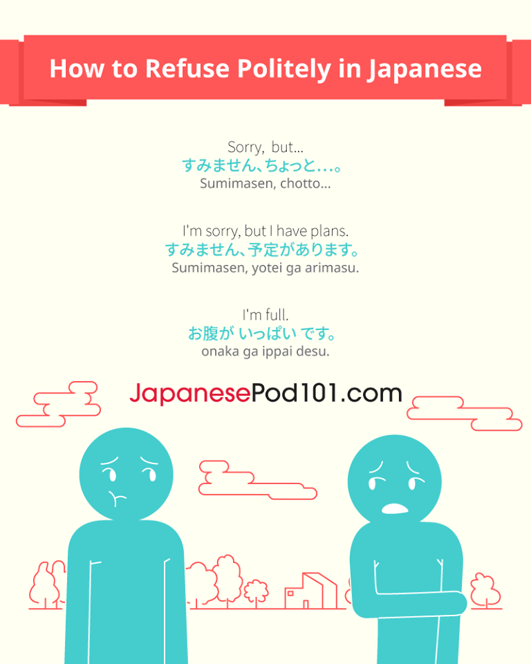 Say no in polite Japanese! Totally FREE Japanese lessons