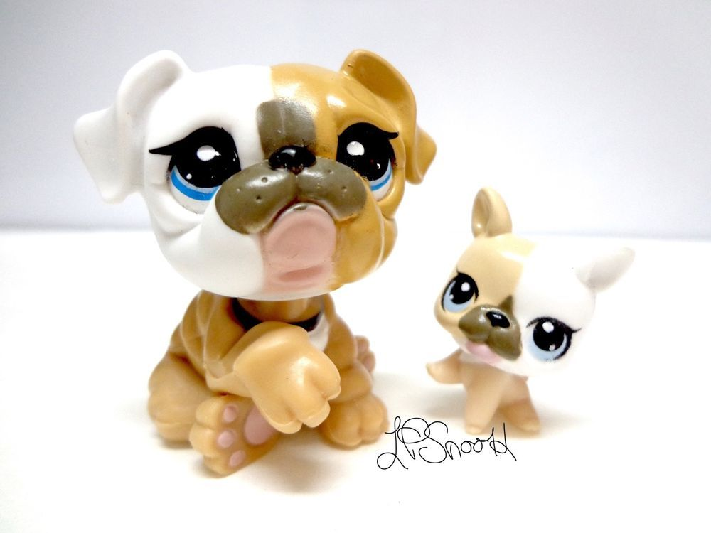 Littlest Pet Shop Mommy 3587 Baby Puppy 3588 Tan White Bulldog