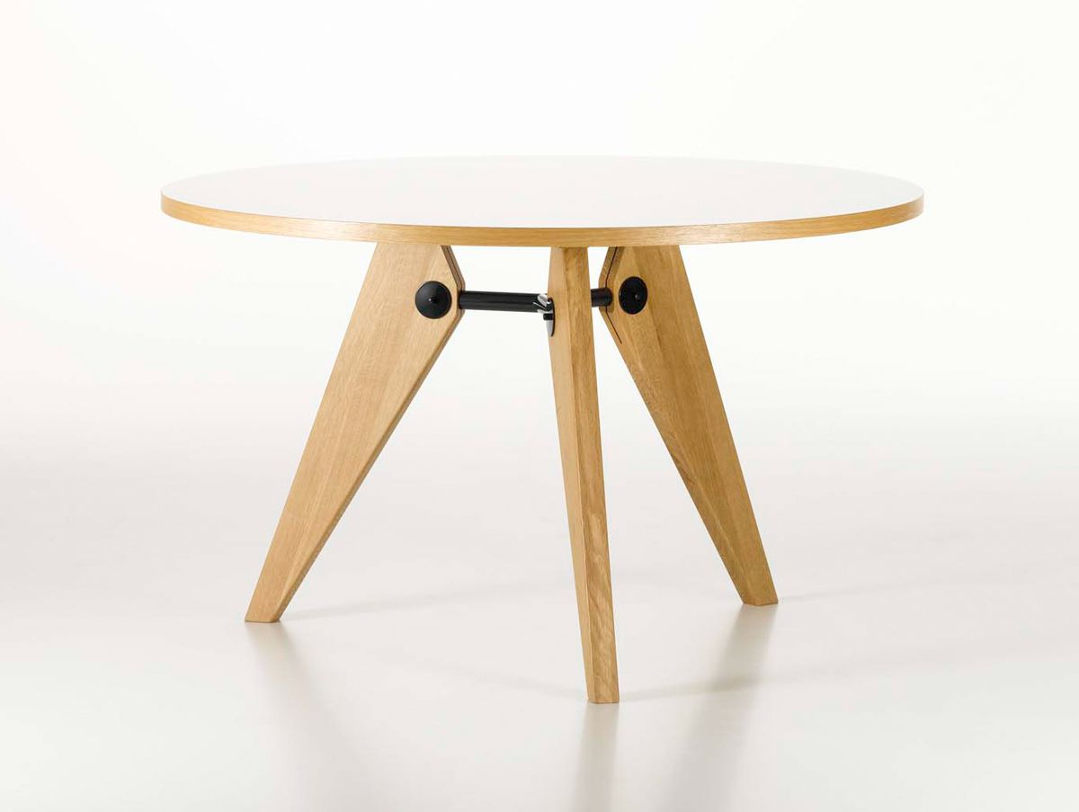 Cm diameter white hpl jean prouvé guéridon table by vitra