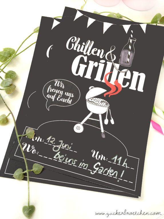 FREEBIE // Einladung zum Chillen & Grillen Free Printable | Free ...