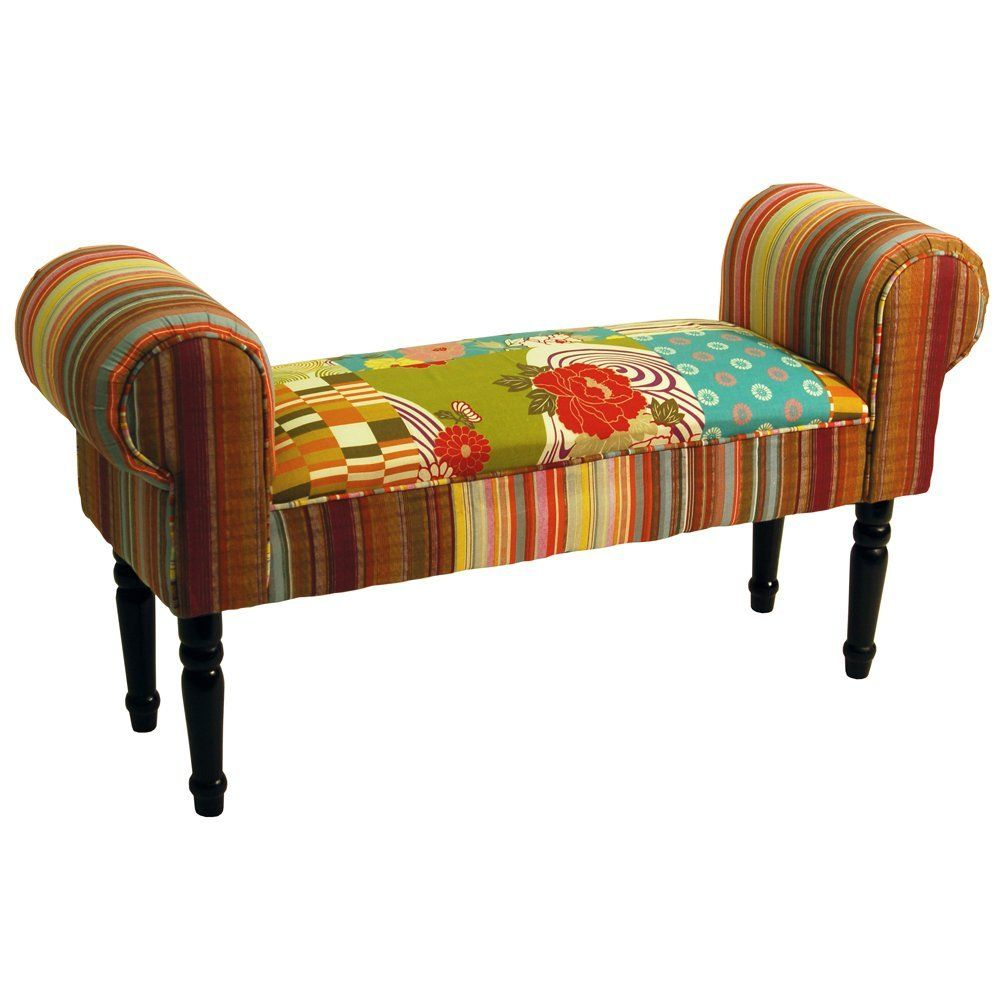 patchwork shabby chic chaise pouffe stool wood legs