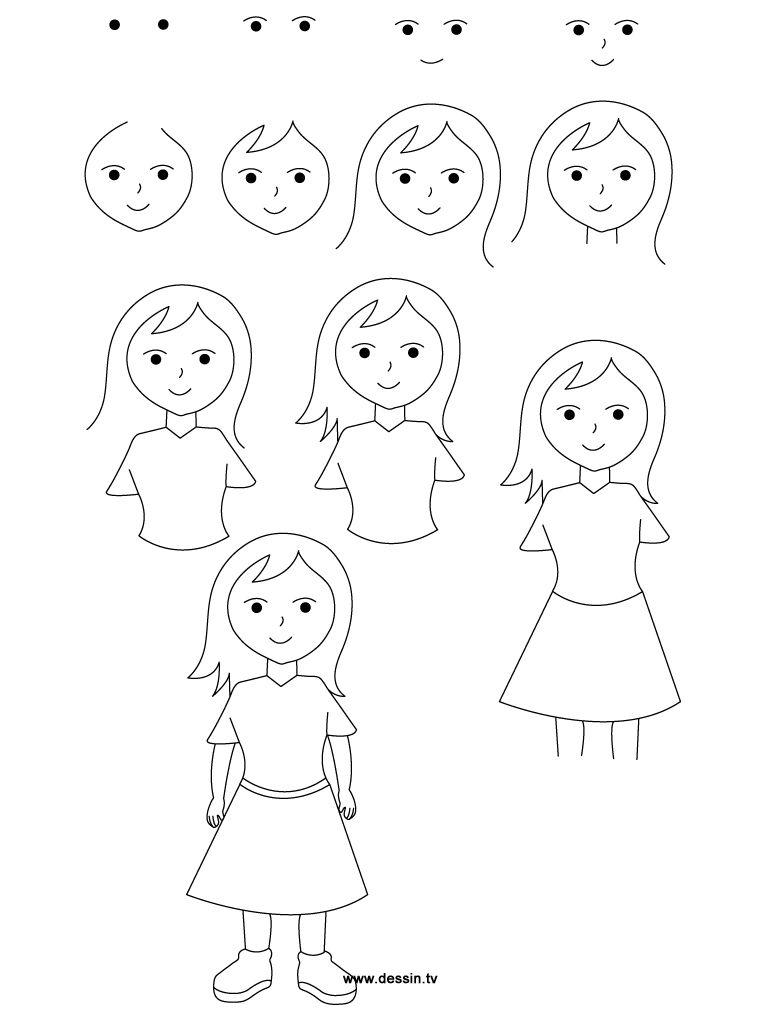 How To Draw A Girl Drawing Girl Girl Drawing Drawing For Kids Fairy Drawings