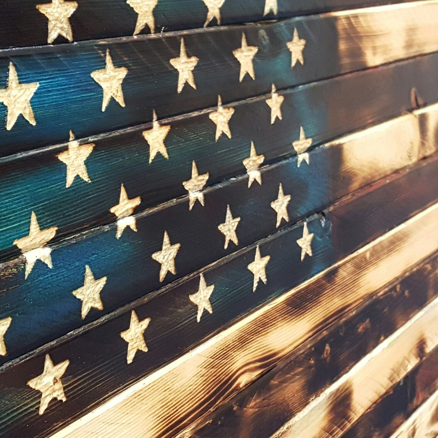 Rustic Charred American Flag With A Hint Of Color This Was Fun Build Achieving Look Great Mantel Piece Or Wall