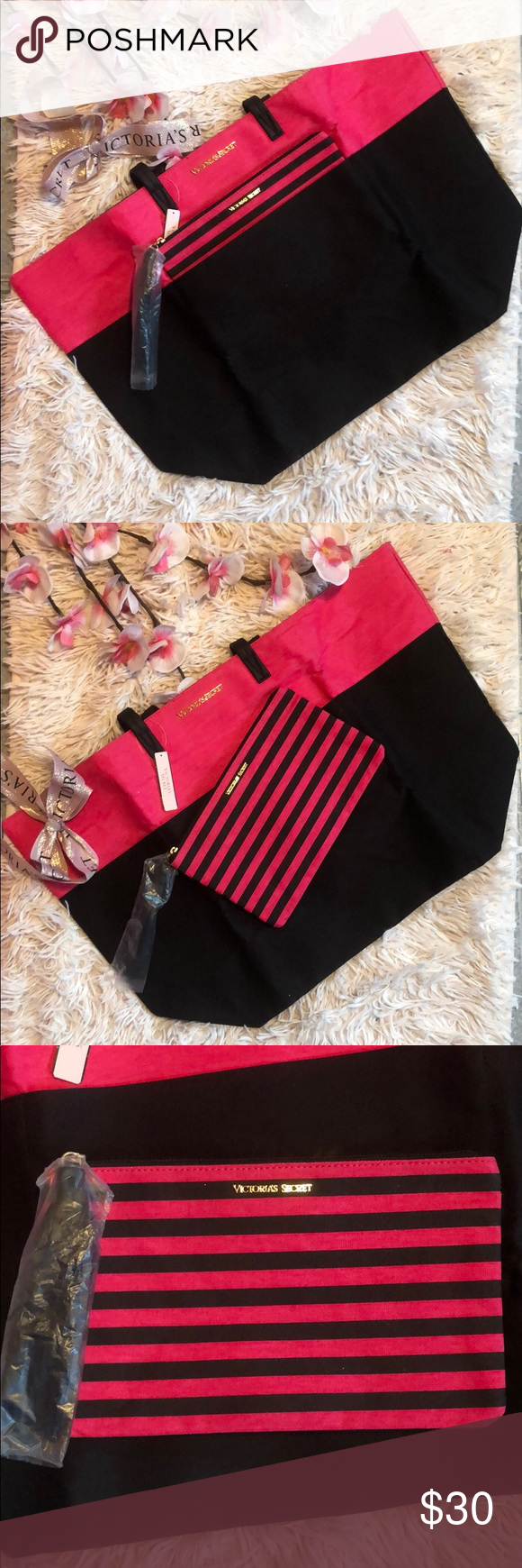 1822014d94 VIctoria Secret s Tote w  cosmetic bag set NWT Victoria Secret s Tote Set  Large tote w  cosmetic bag with tassel. Hot pink with black. 2 straps.