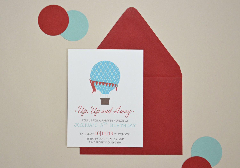 Hot Air Balloon Invitations via Etsy. | Baby Shower for Laura ...