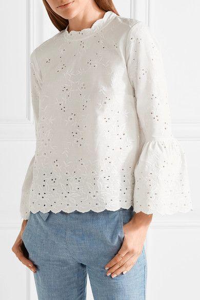 d56c9e0244c3b9 Ulla Johnson - Grace Broderie Anglaise Cotton And Linen-blend Blouse - White