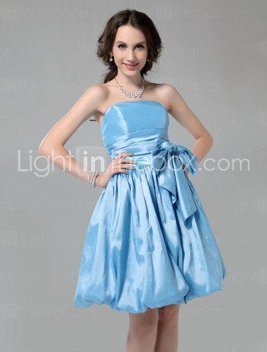 28f667cbdc3 A-Line Strapless Knee Length Taffeta Bridesmaid Dress with Bow(s ...