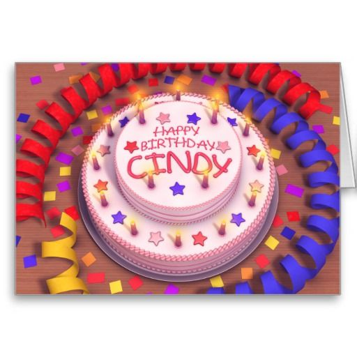 pink name cindy cindys birthday cake greeting cards