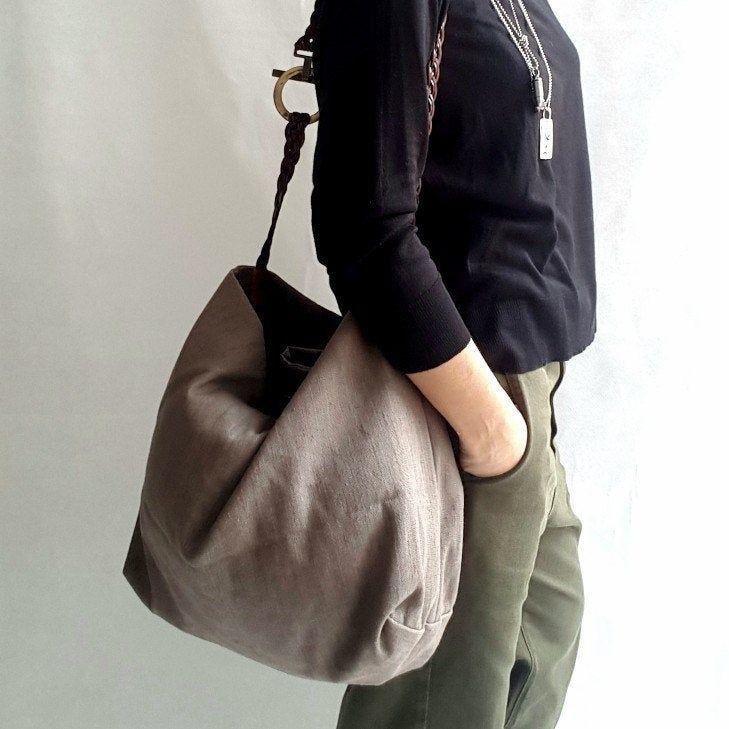 Photo of Fabric bag, handmade bags, shoulder bag, women's bag, linen bag, soft linen bag, brown bag, fabric bag