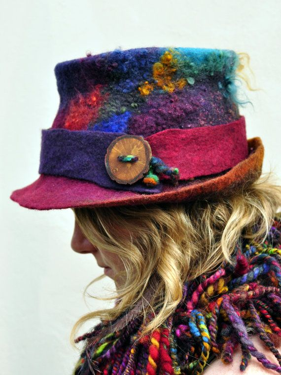 Items similar to Handmade felt hat 'Evolution' MADE to ORDER - Hand dyed felted wool & curls - magical colorful rainbow ARtWeAR ethical fashion wearable art on Etsy