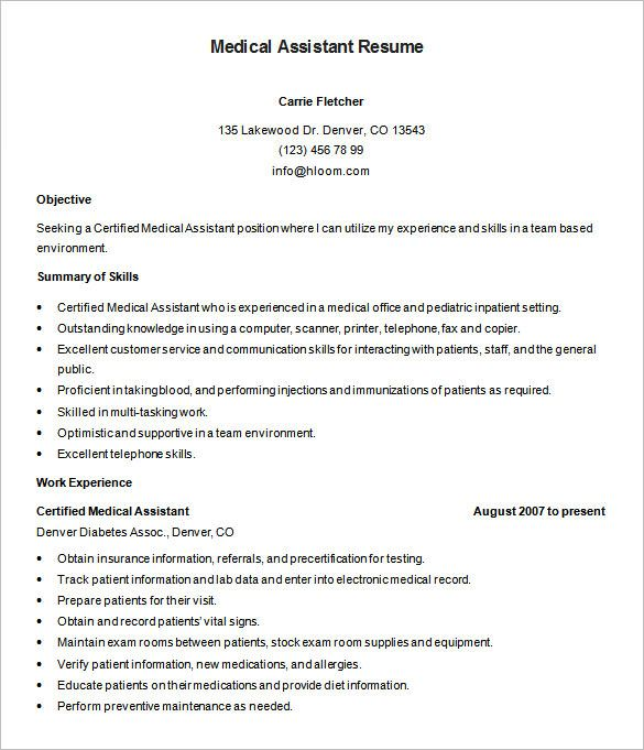 Pediatric Medical Assistant Sample Resume. Nursing Aide And