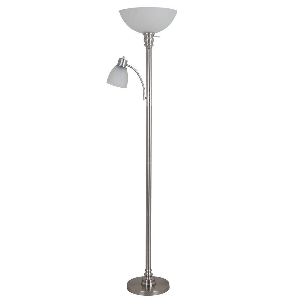 Hampton Bay 70 In Brushed Nickel Floor Lamp With Reading Light And Frosted Glass Shade 19273