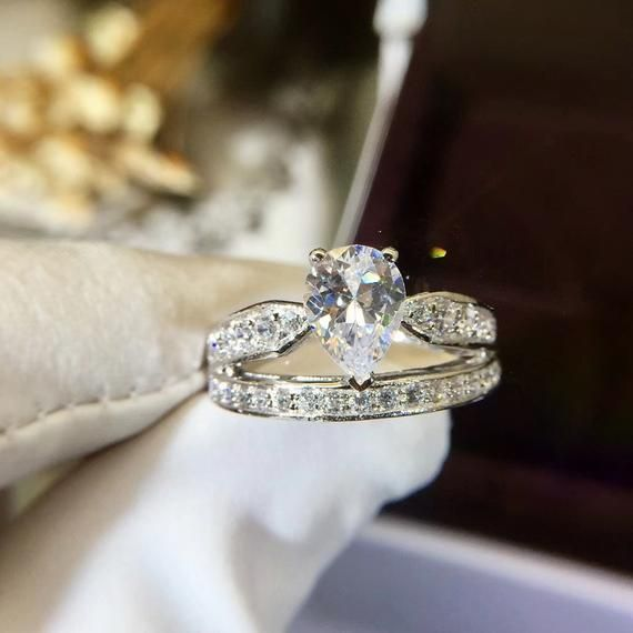 1 Ct Pear Cut Tiara ring Unique Princess Crown Ring Art Deco | Etsy