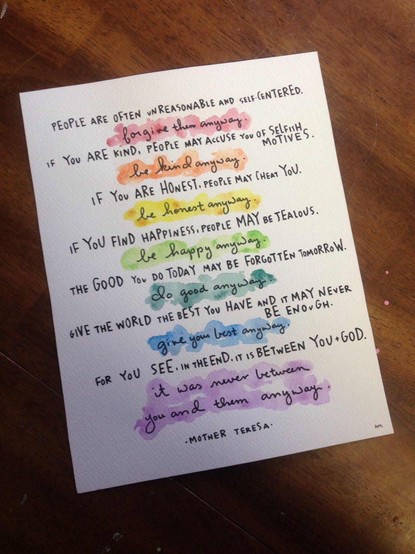 11x14 print of mother teresa do it anyway poem   E
