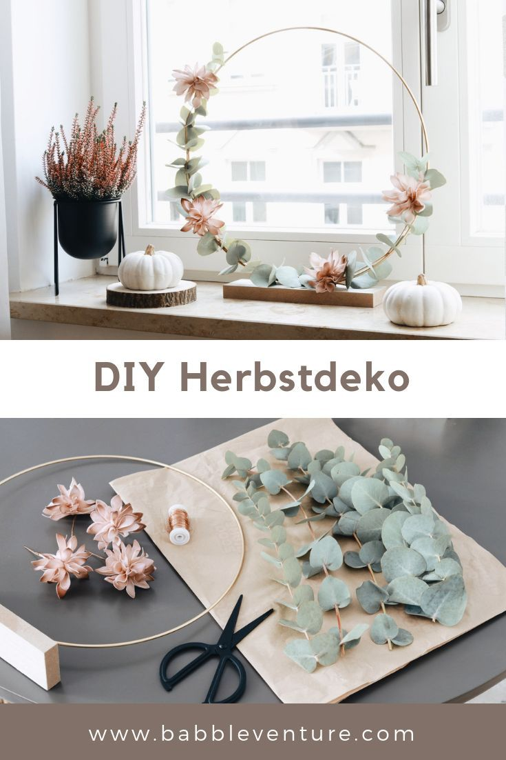 DIY Herbstdeko Idee mit Metallring &Eukalyptuszweigen