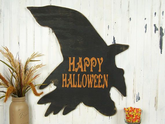 Happy Halloween Wood Sign Witch Sign Wooden Halloween Sign Halloween - witch decorations