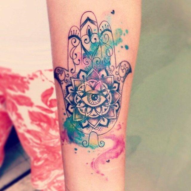 Watercolour Hamsa Hand Google Search Hamsa Hand Tattoo Hamsa Tattoo Hand Tattoos