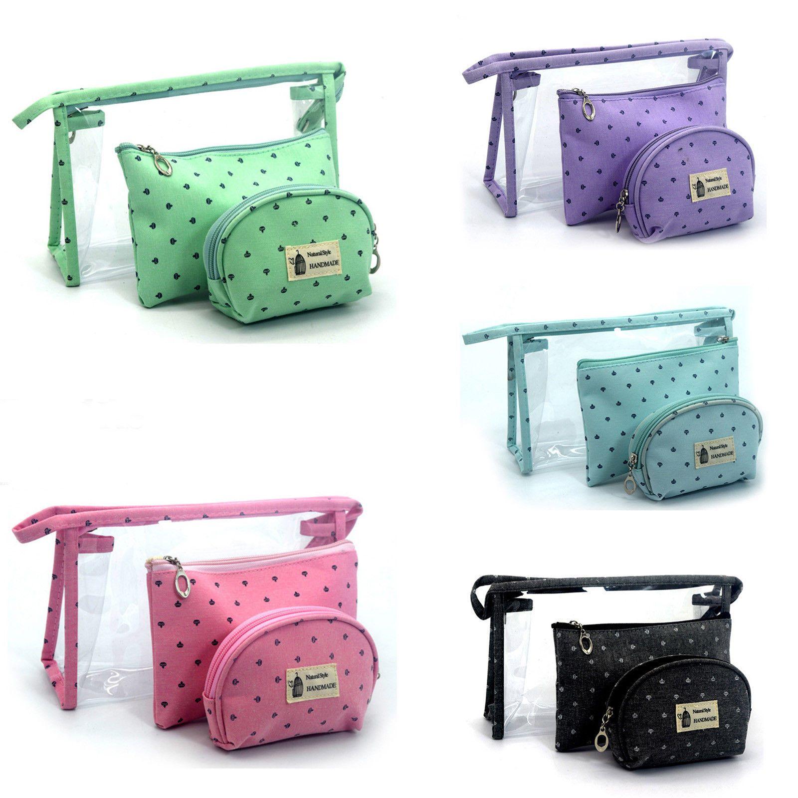 f4048b0afbf6 Portable Waterproof Cosmetic Bags Pvc Pouch Travel Toiletry Bag Women  3Pcs/Set