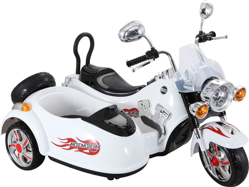 4437d31adf3 Kids Rocket Electric / battery 12v Motor bike and Sidecar Ride On Car White