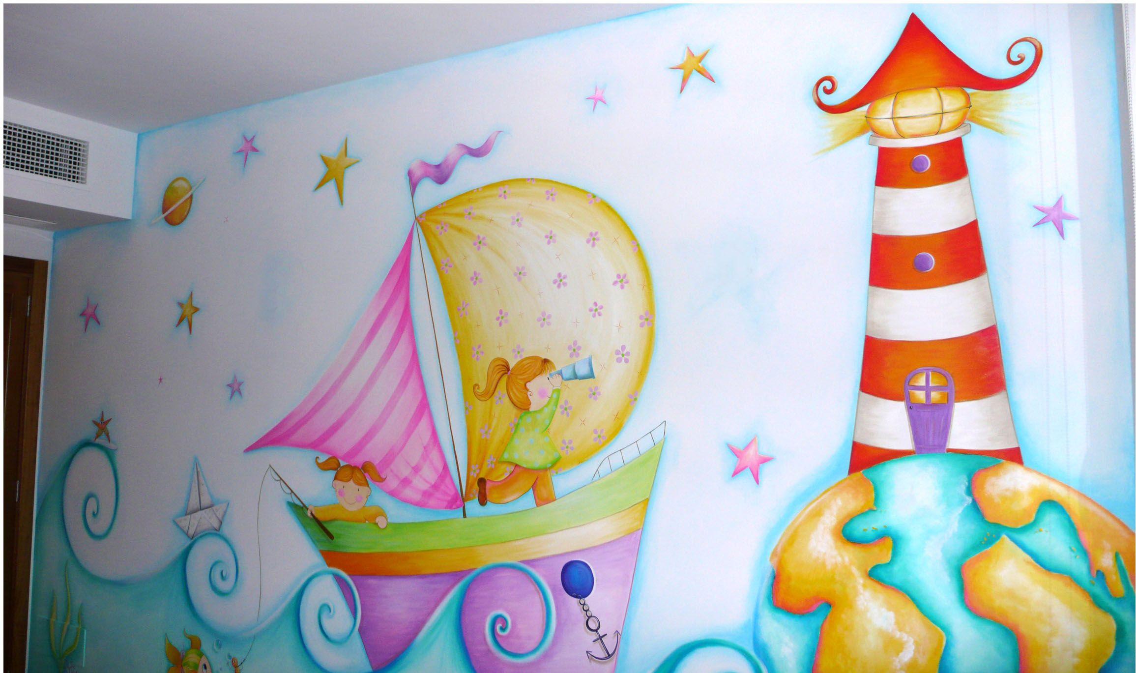 Mural velero para ni as murales infantiles pinterest - Murales para ninas ...