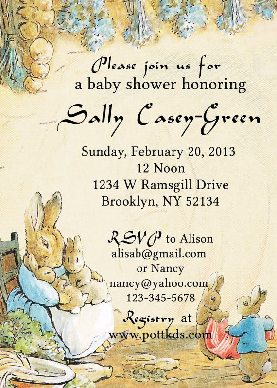 Peter Rabbit Baby Shower Invitation Beatrix Potter Bridal Party Invite Or Boy Theme Gender Neutral Colors