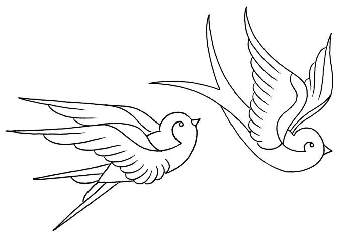 Swallow Tattoo Line Drawing : Traditional swallow sketch tattoo art journals part