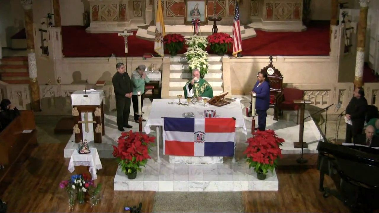 Mass in Spanish in honor of Our Lady of Altagracia, Patroness of the Dominican Republic, celebrated at the Church of St. Columba, NYC, USA, by Fr. Tomas del Valle-Reyes.