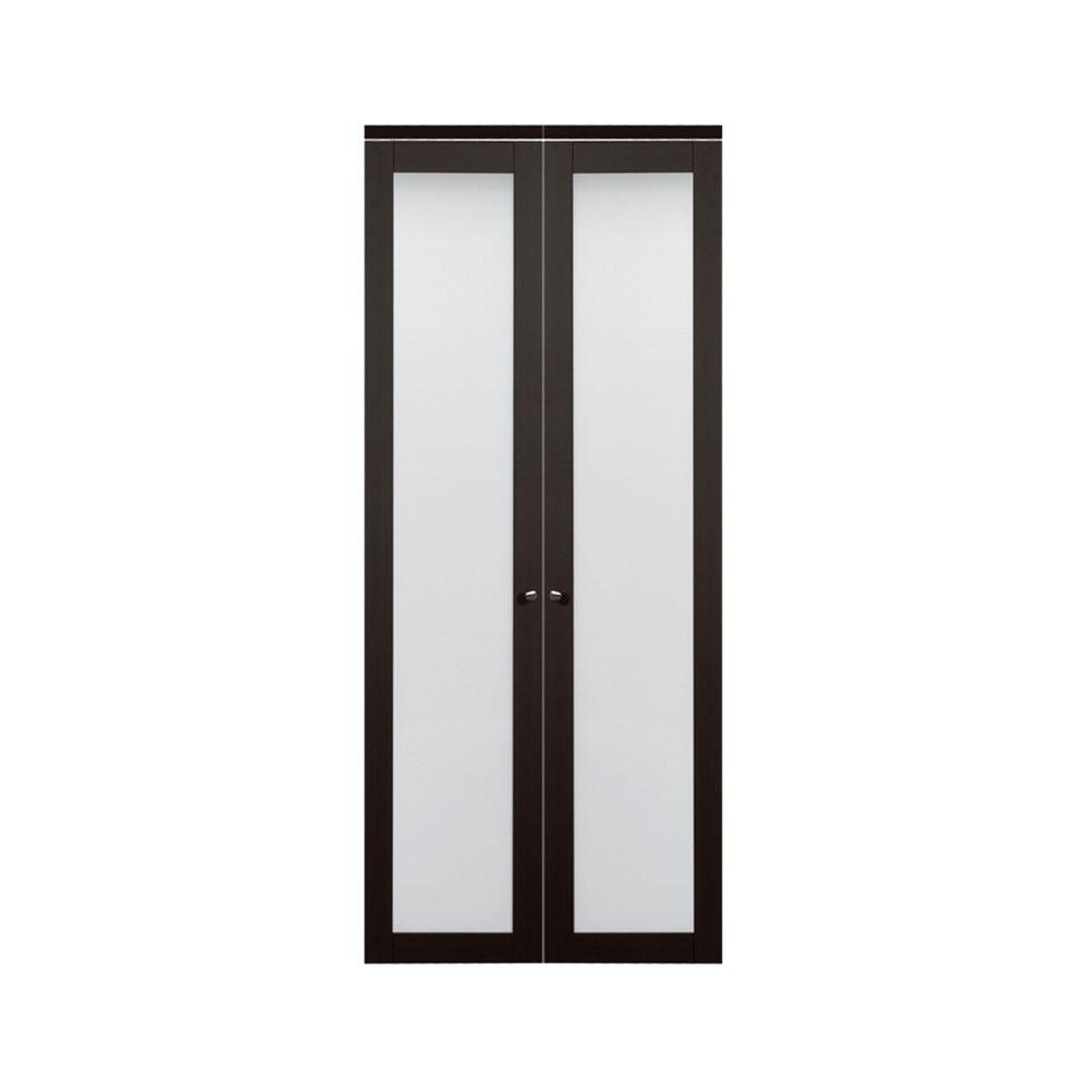 Truporte 36 In X 80 In 3030 Series 1 Lite Tempered Frosted Glass Espresso Composite Interior Closet Bi Fold Door 247238 Bifold Doors Bifold Closet Doors Doors Interior