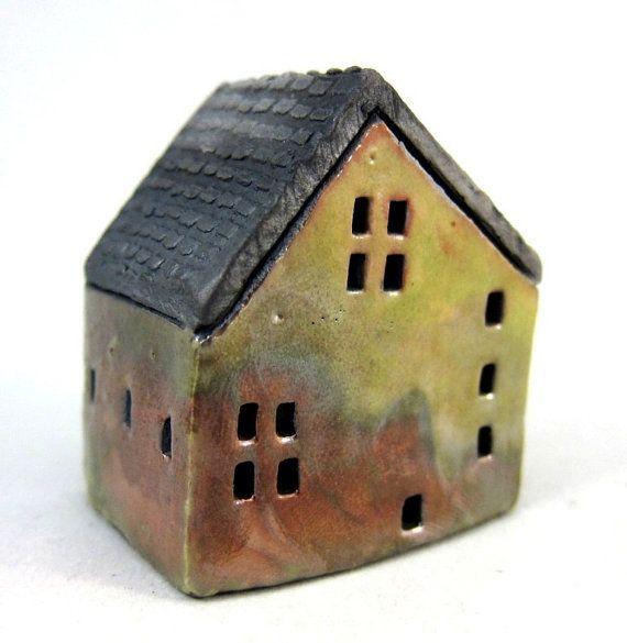 Autumn Cottage...Raku Fired Miniature House