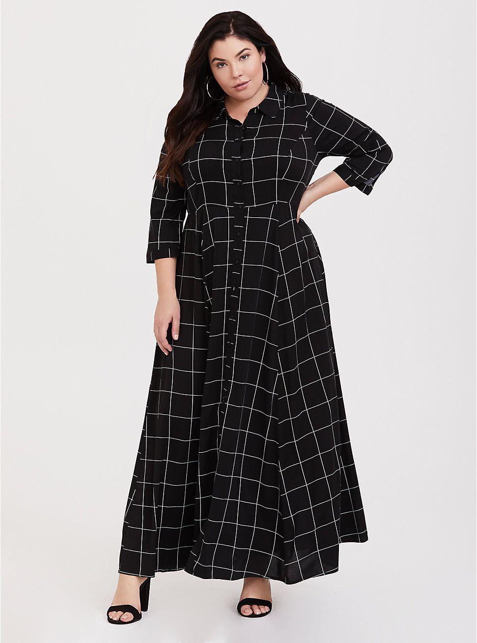 Black Grid Challis Maxi Shirt Dress | Dresses in 2019 | Maxi ...