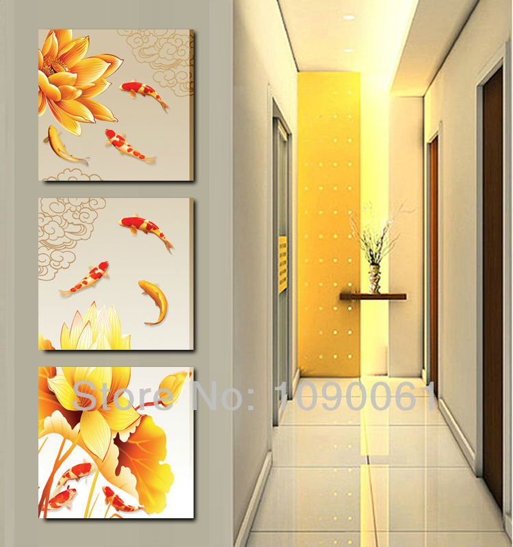 Handmade Modern Lotus Flower Oil Painting Koi Fish Canvas Art ...
