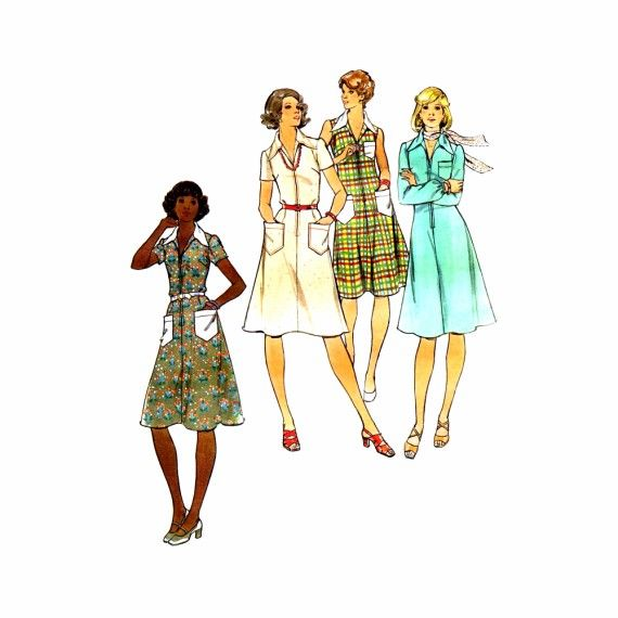 1970s Front Zipped Dress Butterick 4216 Vintage Sewing Pattern