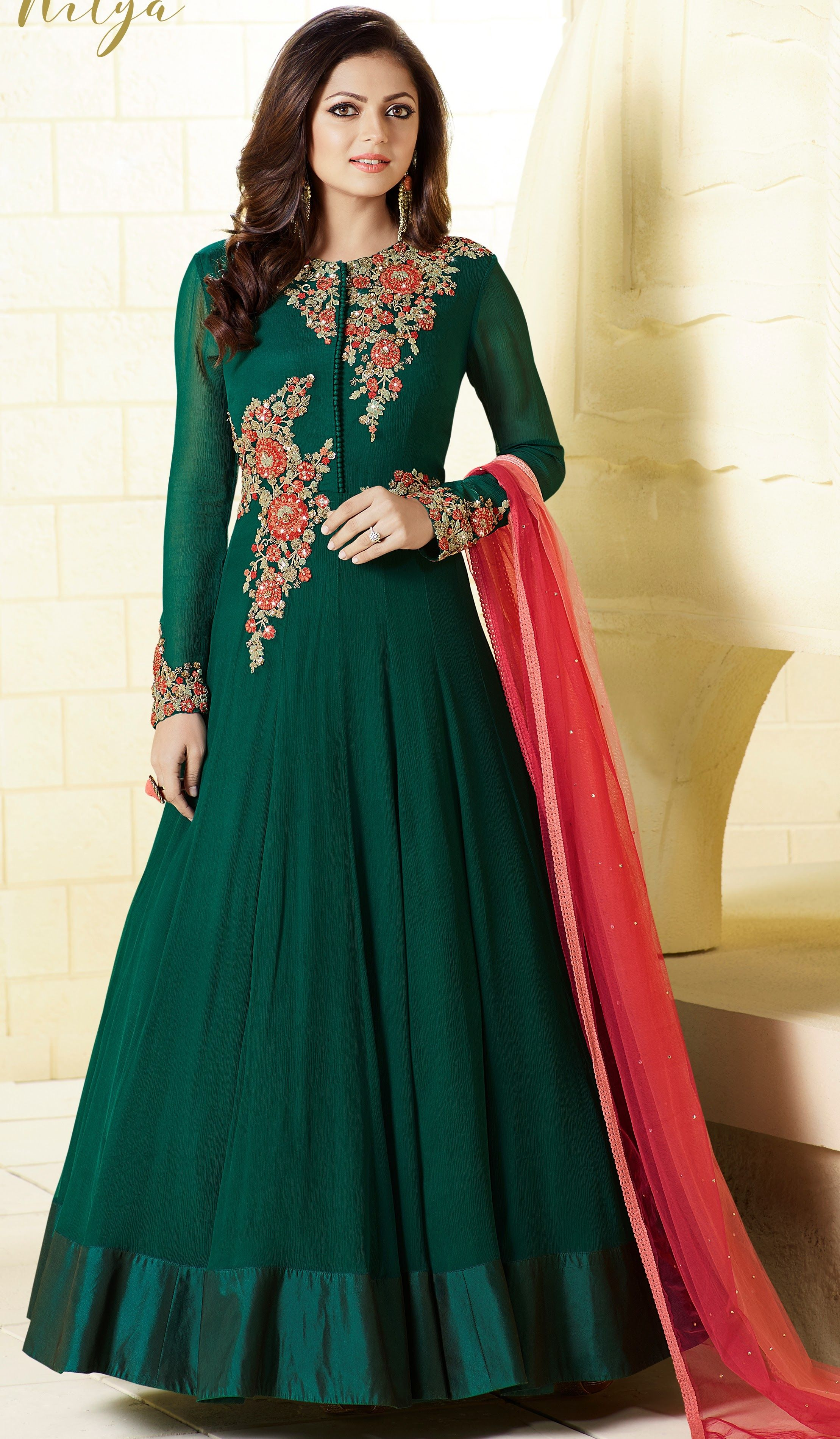 56234534215e Drashti Dhami Chiffon green floor length Anarkali suit with resham stone  and sleeves work and dupatta with lace and stones