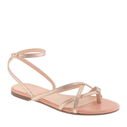 J Crew Pilar Glitter Sandals Love These I M Sure They Are Way To Expensive For My Budget Though J Crew Usually Is S U M M E R Shoes Flats Sandals G