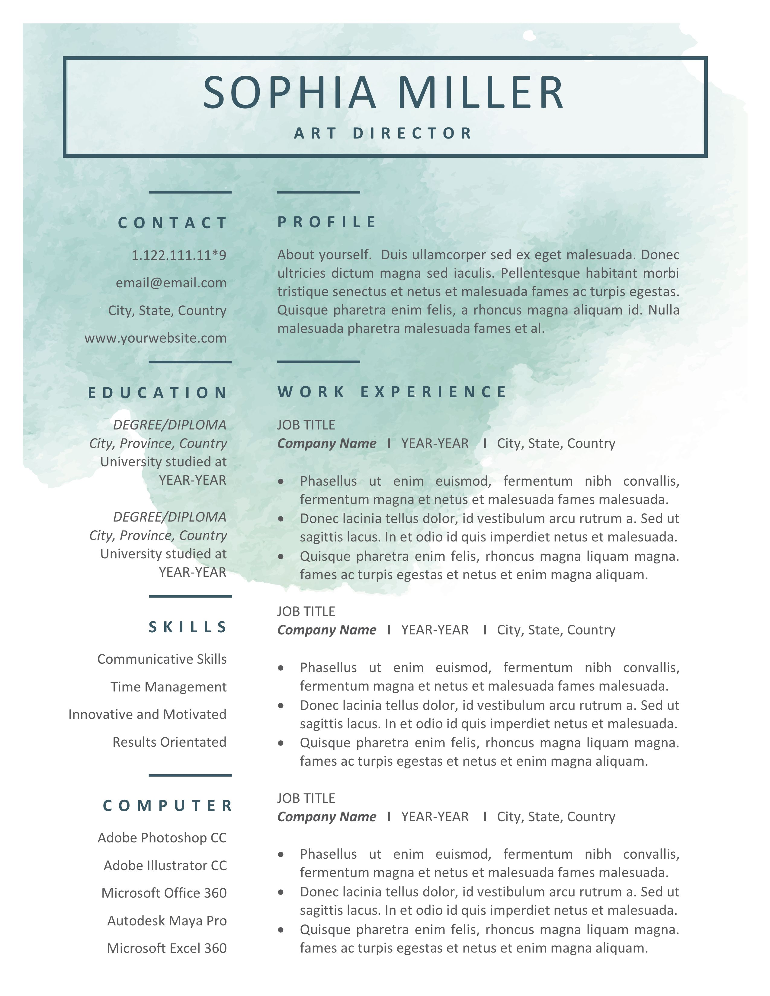 creative resume cv template for word  u0026 pages  resume