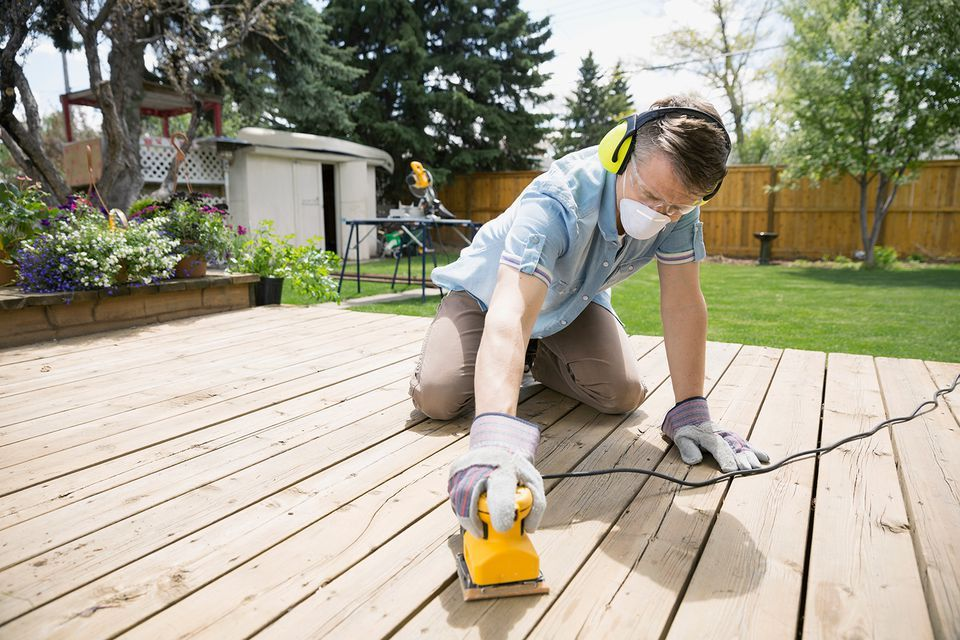 How To Sand Your Wood Deck Like A Pro Before Refinishing In 2020 Sanding A Deck Deck Cleaning Cool Deck