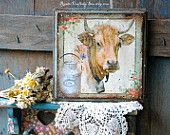 Cows Theme Home Decor Collection on Etsy (original paintings, wall artwork, farm mailbox designs, ceramic tile coasters, wall clocks, milk bottles, kitchen potholders, pillow covers, painted wooden signs and more!)