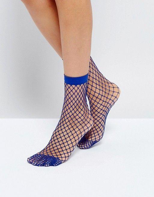 7ba8860d4 Oversized Fishnet Ankle Socks In Blue | accessories/random THINGS I ...