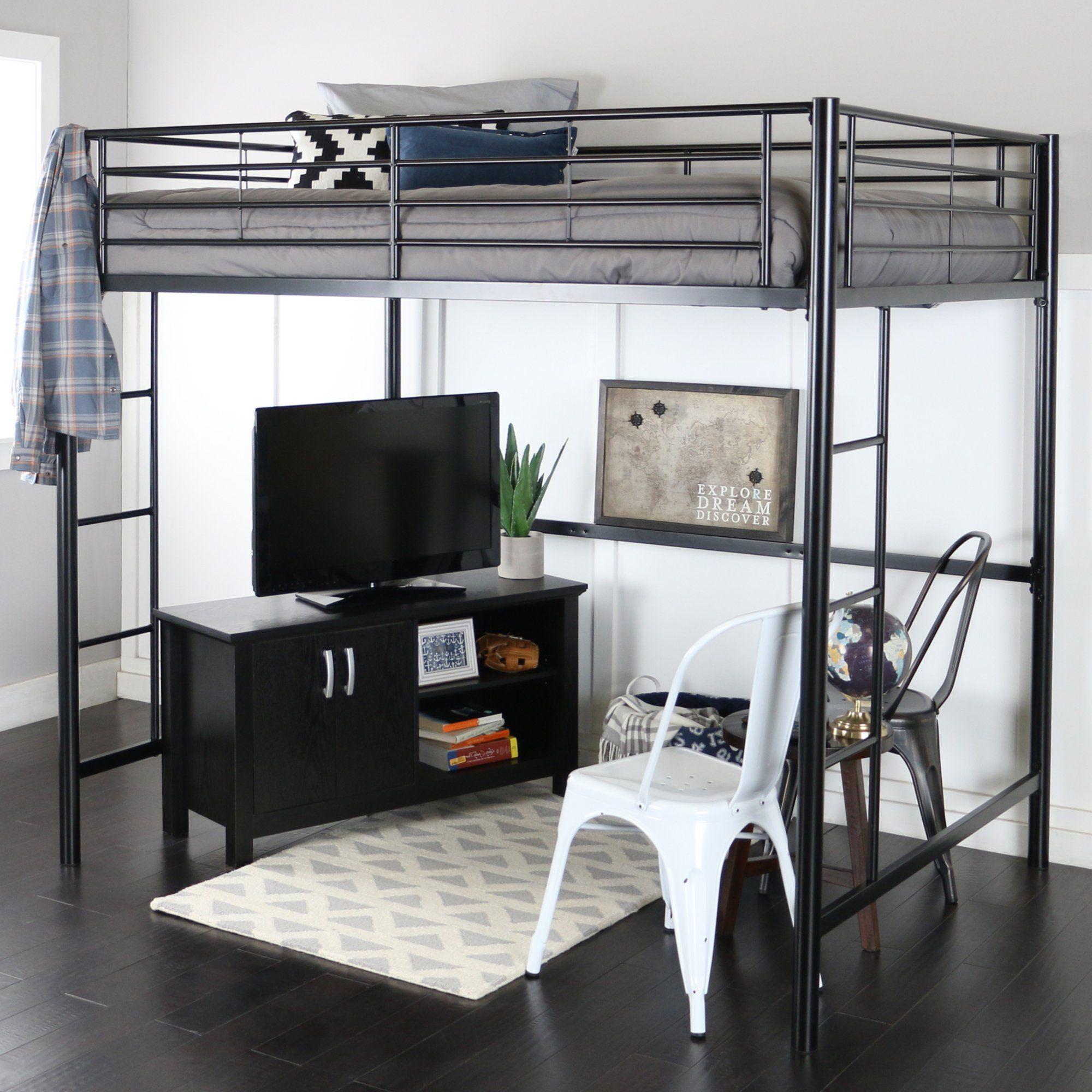 We Furniture Loft Bunk Bed Full Metal Black Modern Loft Bed Loft Bunk Beds Kids Loft Beds