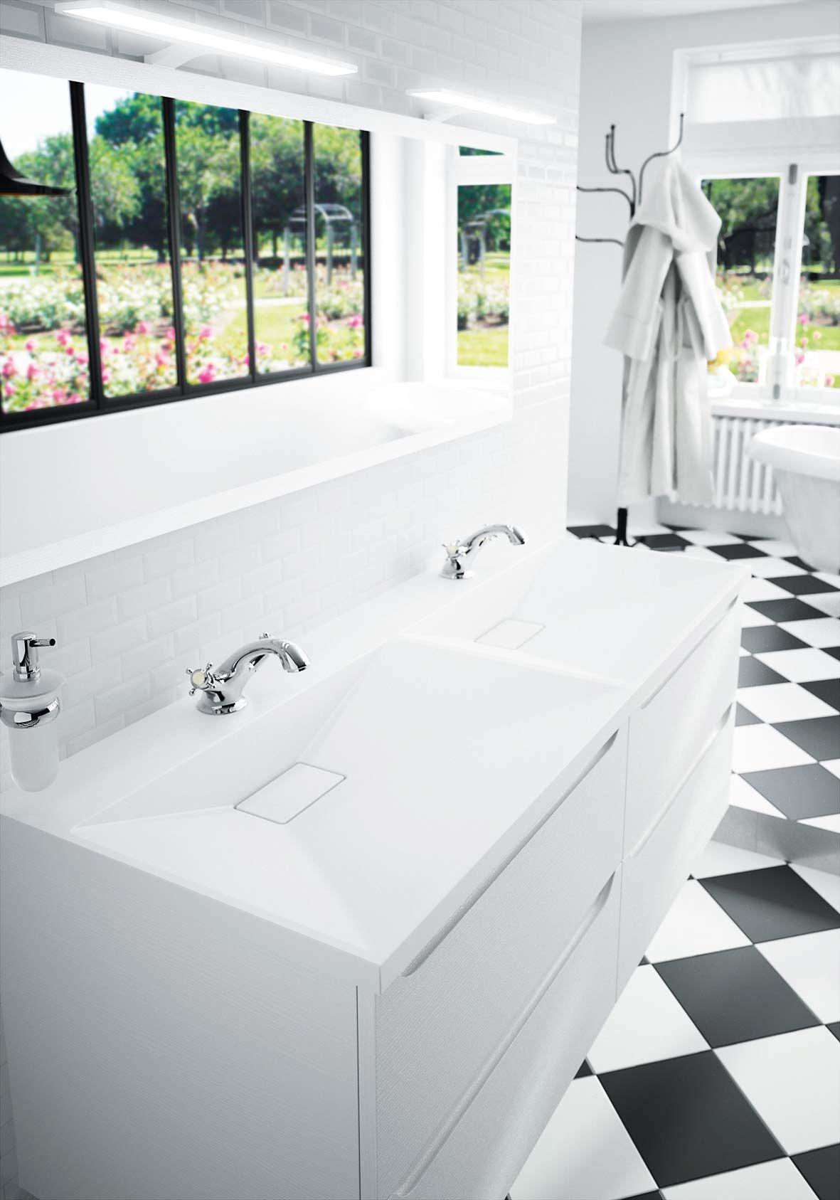 Plan vasque en marbre reconstitu brillant feeling - Fabricant meuble de salle de bain ...