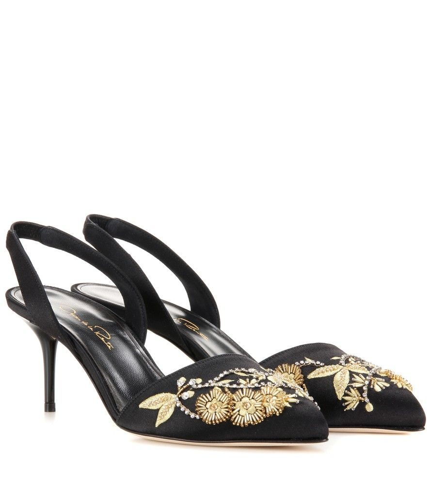 Oscar de la Renta Satin Embellished Pumps popular for sale cheap visit new high quality online cheap outlet store low shipping fee online rfQo5eWOGL