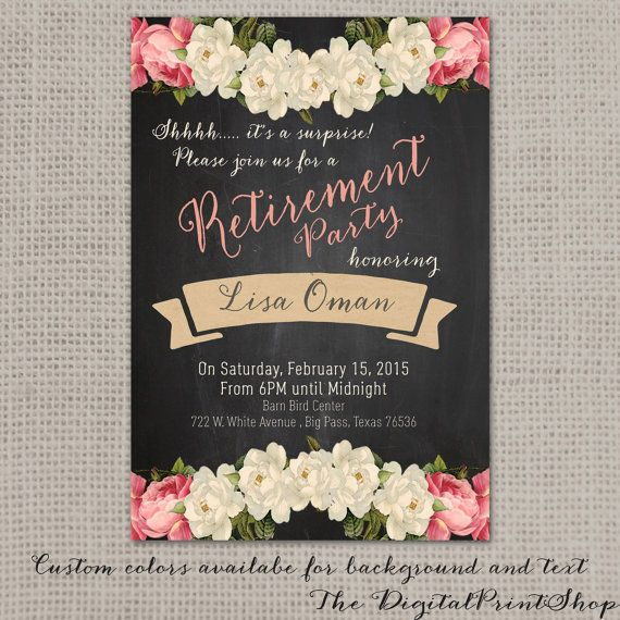 Surprise Retirement Invitation Party Invite Rustic Chalkboard
