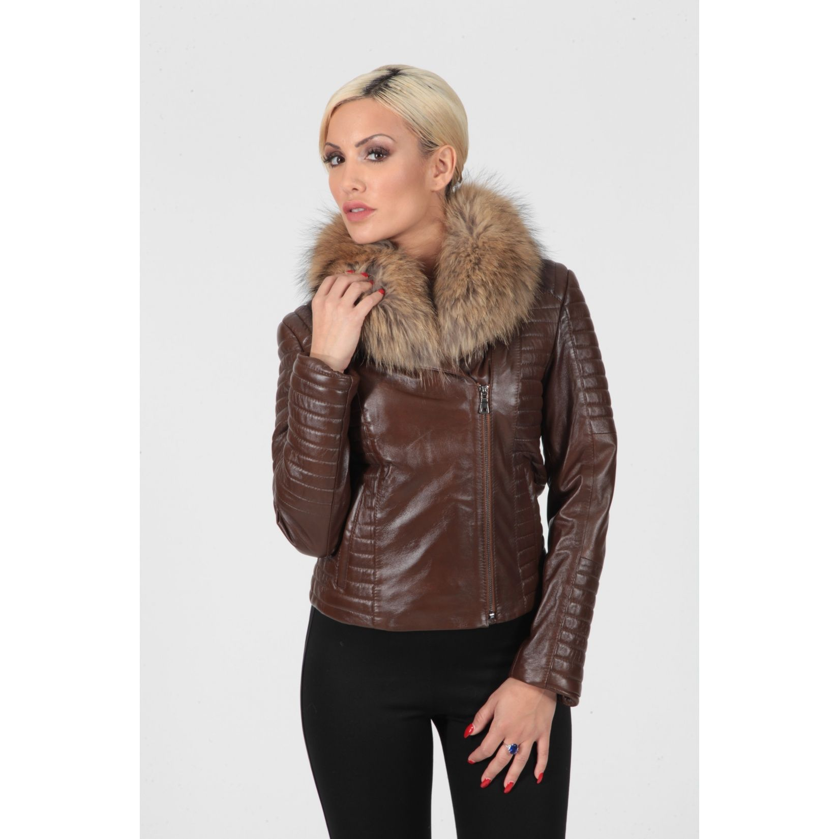 Women's brown laser perforated leopard design real leather