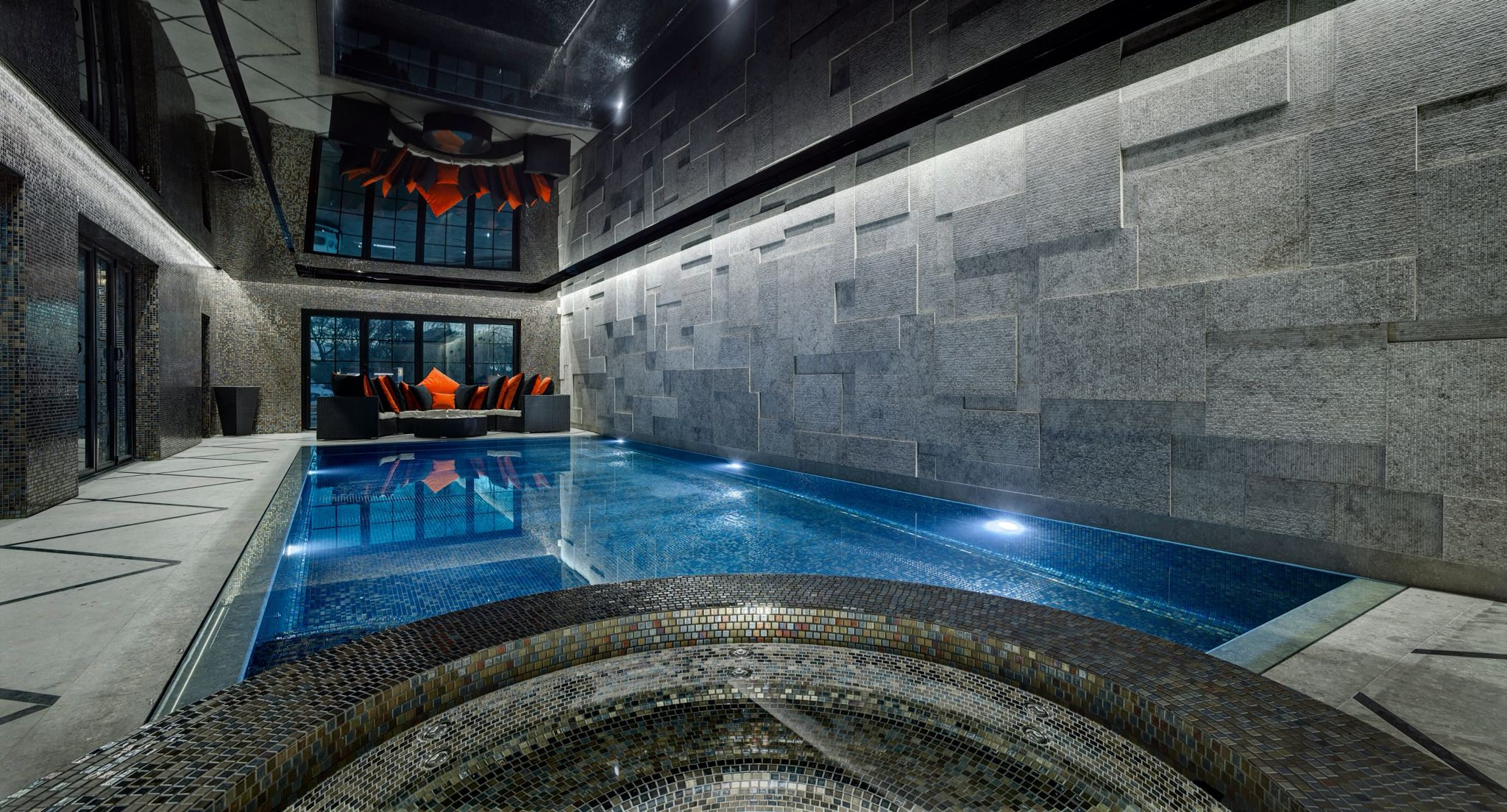 Indoor Outdoor Pool Residential Indoor Residential Deck Level Swimming Pool With Bespoke Tile Spa