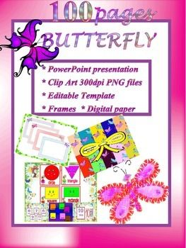Butterflies  Bundle  Powerpoint Presentation  Clipart  Leto