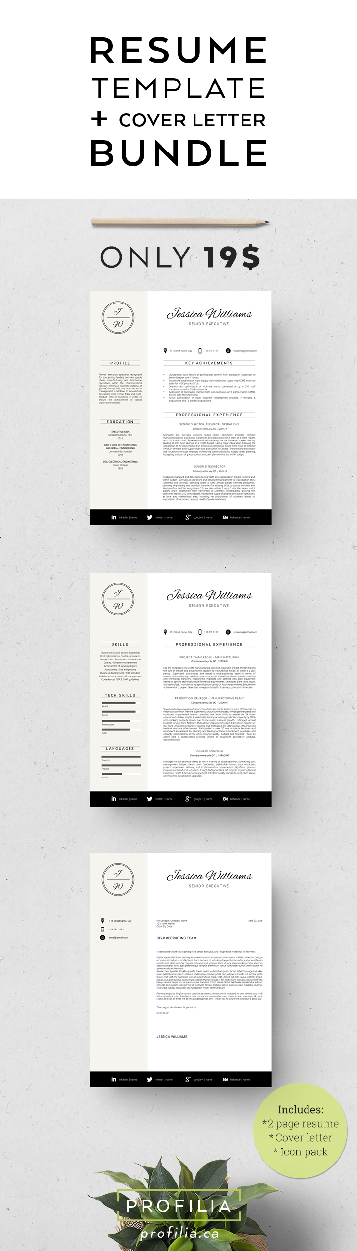 Modern resume & Cover letter Template. 3 Page bundle with fonts ...