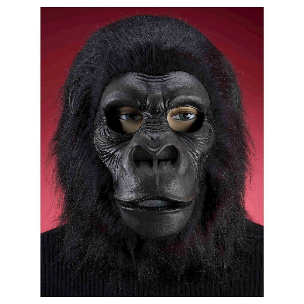Hairy Black Gorilla Mask, Adult Unisex | Black, Ps and Masks